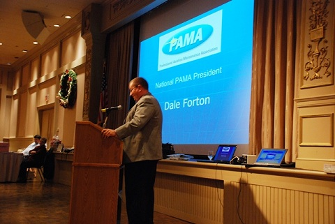 PAMA President Dale Forton speaks to group.